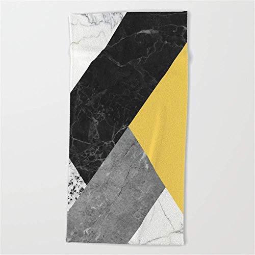 Uosliks Bath Towel Wrap, Black and White Marbles and Pantone Primrose Yellow Color Beach Towel 31x51 Inches Spa Wrap (Bar Towel White Bath)