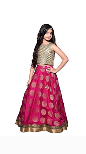 MEGHALYA Baby Girls Pink Color Raw Silk Traditional Party Wear Gowns (Kids Gown_Pink_08 - 12 Years)