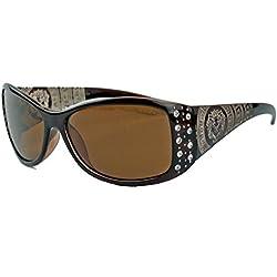 GIANNI MILANO polarisierte Damen Sonnenbrille Strass Glitzersteine Designer Look KP34 (Cognac)