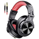 Over Ear Headphones Wired Studio DJ Headphones for Monitoring and Mixing, Professional Headset with Stereo Bass Sound for PC/TV Red(2019 new version)
