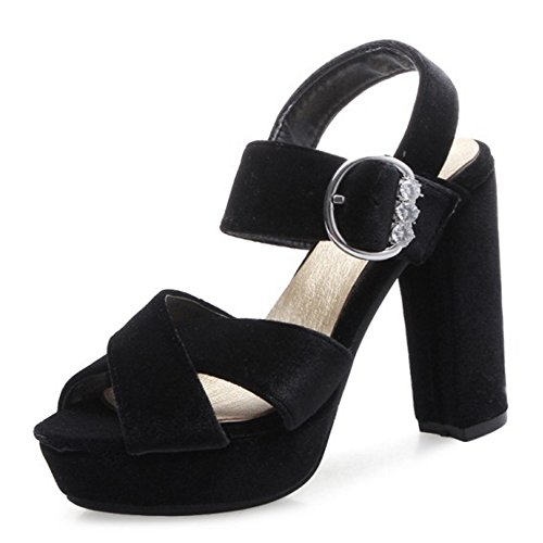 COOLCEPT Damen Mode Knochelriemchen Sandalen Peep Toe Blockabsatz Plateau Schuhe Schwarz