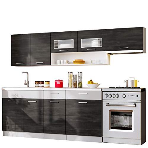 Küche Moreno 180/240 cm mit Arbeitsplatte, Farbauswahl, Küchenblock/Küchenzeile, 6 Schrank-Module frei kombinierbar (Weiß/Norwegische Kiefer + Grau/Aluminium)