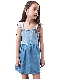 feiXIANG Niños y niñas Lindo Vestido Mini Vestido de Princesa Vestido de niña de Mezclilla Correa