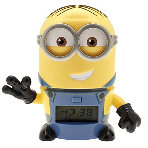 BulbBotz Ich - einfach unverbesserlich 3 2021241 Dave Kinder-Wecker mit Nachtlicht und typischem Geräusch | gelb/blau| Kunststoff | 14 cm hoch | LCD-Display | Junge/ Mädchen | offiziell (Hohe Sound-wecker)