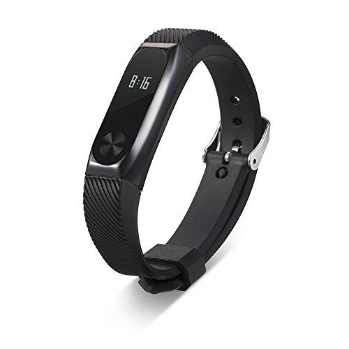 Yincol Smart Banda de Cromo Negro Metal Siilicona Repuesto para Xiaomi Mi Band 2 Wireless Pulsera Inteligente Correa de Recambio Extensibles Coloridos con 14 Colores Diferentes (01 Metal Negro)