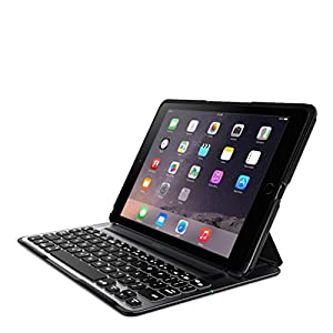 Belkin QODE Ultimate V3 Pro Lightweight Aluminium Keyboard Case for iPad Air 2 with Autowake, Backlit Keys, Removable Cover - Black/Silver
