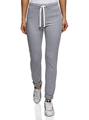 Oodji ultra donna pantaloni in maglia sportivi con laccetti decorativi, grigio, it 48 / eu 44 / xl