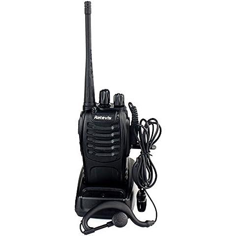 Retevis H-777 Walkie-talkie UHF 400-470MHz 3W 16CH Linterna Incorporado Con Auricular de Mano Radio Transmisor Emisora Aficionado