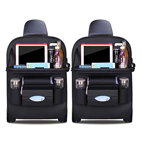 Ergocar Auto Organizer Rückenlehnenschutz Luxus Autositzschutz aus PU-Leder mit faltbarem Tablethalter wasserdicht Rückenlehnenschutz Rückenlehnen-Tasche für Kinder (Schwarz - 2 Pack)