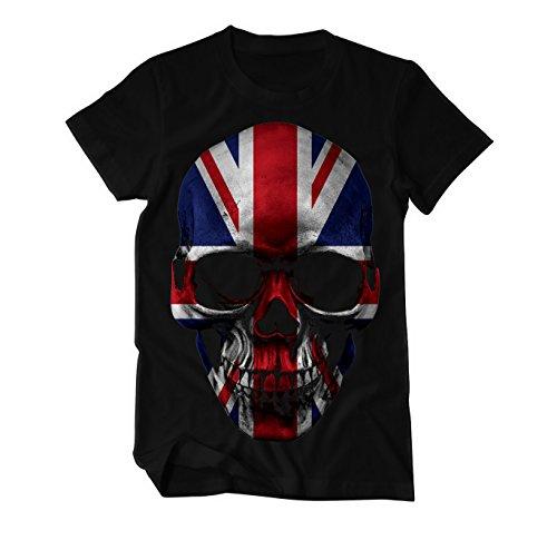 Skull Totenkopf England UK Flagge T-Shirt Herren Large Schwarz