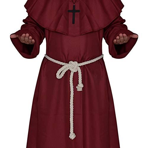 L Halloween Kostüm Umhang Karneval Kleidungshaube Mittelalter Mönchsgewand Zauberer Kostüm Pastor Uniform Christian (Kostüm Keller)