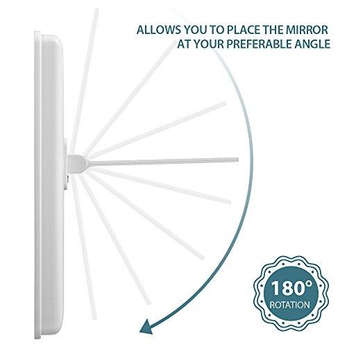 Jerrybox Schminkspiegel mit Beleuchtung Beleuchteter Kosmetikspiegel LED Make up Spiegel Faltbarer Standspiegel Tischspiegel, 180° Einstellbar, Dimmbar, Kompakt, Perfektes Geschenk für Frauen, Weiß - 4