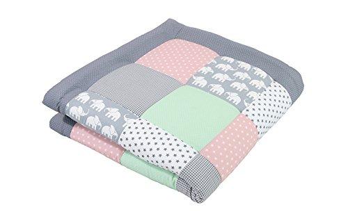 Alfombra para gatear de ULLENBOOM ® con elefantes menta rosa (manta para...