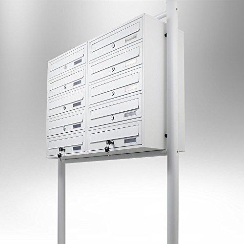 BITUXX® Stand-Briefkastenanlage Postkasten Letterbox Mailbox Doppelt mit 10 Fächer Weiß - 3