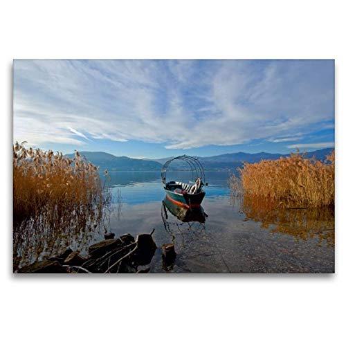 CALVENDO Tela in Tessuto di Alta qualità, 120 cm x 80 cm, Orizzontale, con Immagine del Calendario Lago Maggiore e Immagine su Telaio a Cunei, pronta da Appendere, Stampa su Tela Orte