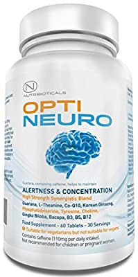 Optineuro® for Increased Focus, Concentration + Memory Backed by Science Nootropic Brain Food Supplement | Premium Nootropic Stack with Guarana, L-Theanine, Choline, Ginseng, Bacopa, TMG, Gingko Biloba, Tyrosine, Phosphatidylserine (PS), Coenzyme Q10, B12