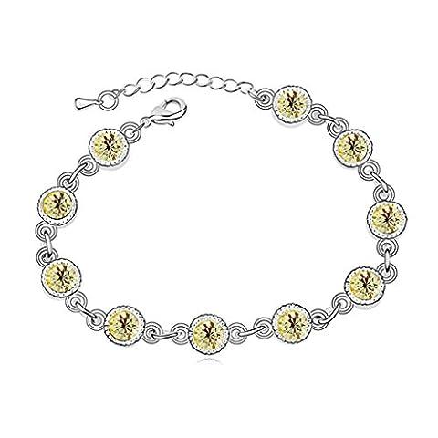 Aooaz Plaqué Or Blanc Femmes Bracelet,Chaîne Bracelets CZ Cristal,Rond Jaune