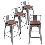 Tabourets de bar en métal avec dossier bas de 26 ', sièges de salle à manger industriels, chaises de table de cuisine pour tabourets de bar intérieurs / extérieurs [ensemble de 4], bois argenté