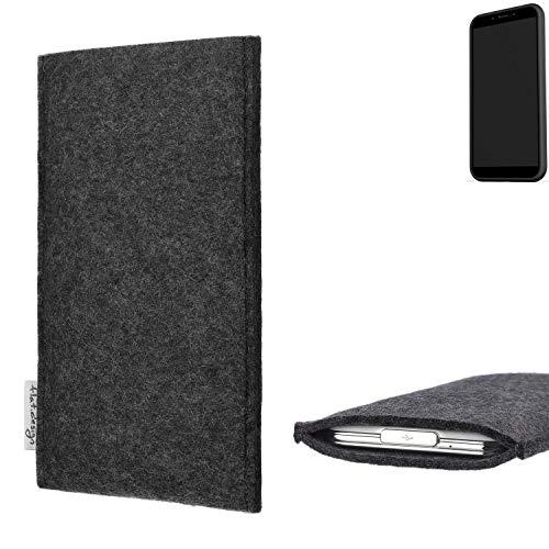 flat.design Handy Hülle Porto für Shift Shift6mq handgefertigte Handytasche Filz Tasche Schutz Case fair dunkelgrau