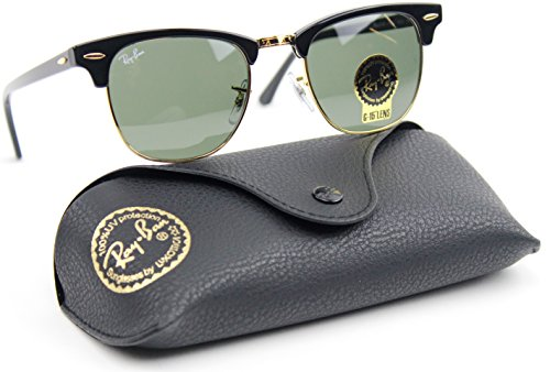 Ray-Ban RB3016 Clubmaster Classic Unisex Sunglasses (Black Frame / Green G-15 Lens W0365, 51)