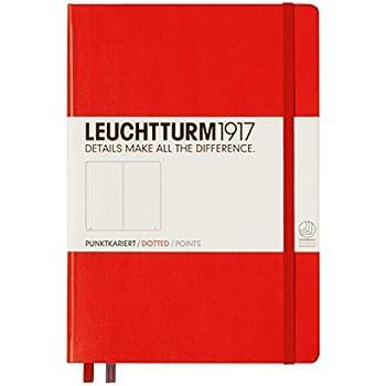 Leuchtturm1917 313627 Carnet Medium (A5), 249 pages numérotées, rouge, pointillés