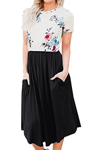 68ea2cad329 Ecowish Womens Patchwork Dresses Summer Floral Print Casual Contrast Swing  A-Line Midi Dress with