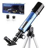 TELMU Astronomisches Teleskop Lichtteleskop zoom Tragbarer Refraktor mit Stativ Kinder Telescope mit 45 grad Diagonalspiegel kann Bilder korrigieren,Anf?nger Sieh den Mond und die Sterne als Geschenk -