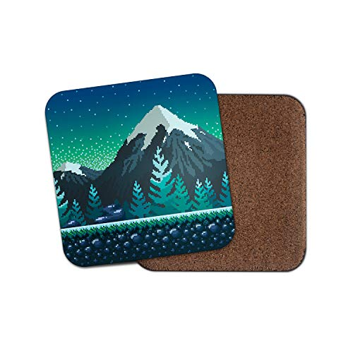 Untersetzer mit 8 Bit Mountains - Gamer Geek Computer Skifahren Ski Schnee Cool Geschenk #15192