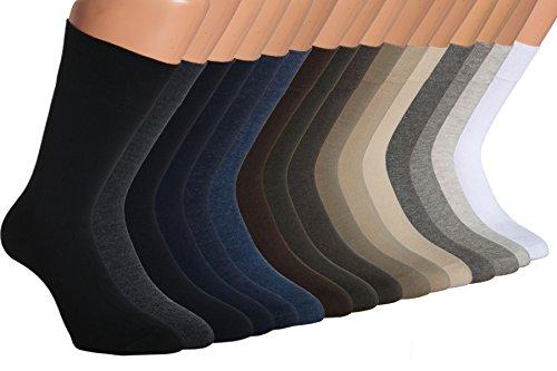 Vitasox 31042 Socken Herren Baumwolle Business Herrensocken ohne Gummi ohne Naht einfarbig 6er Pack Jeans-Töne 47/50