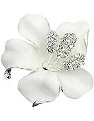 Contever® Blanco Broche De Flor Con Cristalino para Novia Boda Nupcial