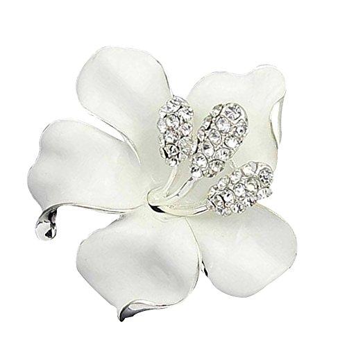 Contever® Bling Rose Fiore Spilla Pin Gioielli di Moda Annata Eleganti Colore: Bianca