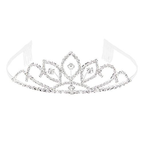Rhinestone Kronen Tiara Kamm für Hochzeit Braut Festzug Abschlussball Silber