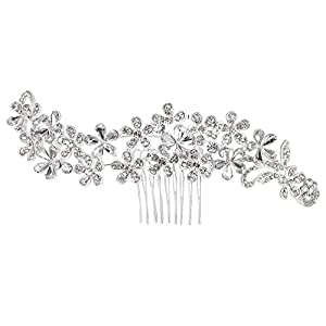 Clearine Women's Bohemian Crystal Cluster Vine Flower Romantic Wedding Bridal Bling Hair Comb Clear Silver-Tone