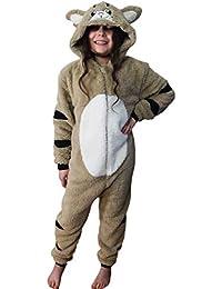 Wunsy Grenouillère Combinaison-Pyjama Onesie Animal Pour Enfants Garçons Et Filles - Singe, Carlin, Lapin, Renard, Mouton, Gorille, Dinosaure Agé De 2-3 Ans Singe Avec Queue