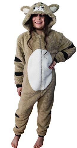 Wunsy Grenouillère Combinaison-pyjama Onesie Animal pour Enfants Garçons et Filles -Chat avec queue 5-6