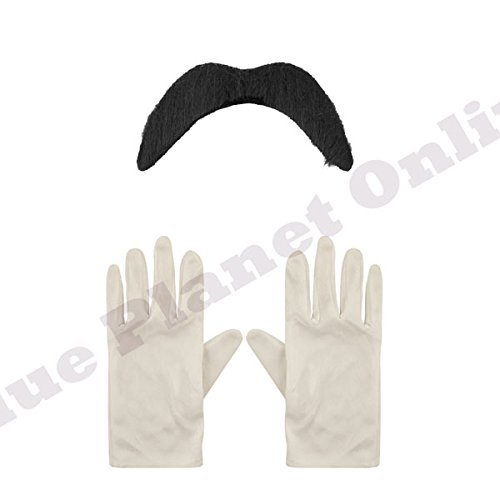 Kit Zubehör Mario Kostüm Kinder - Childrens Kids Boys Moustache Tash & White Gloves Fancy Dress Kit Book Week by Blue Planet Online