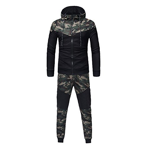 Herren Biker Camouflage Sportanzug Jogginganzug Trainingsanzug 2 Teiler (Camouflage, 3XL) -