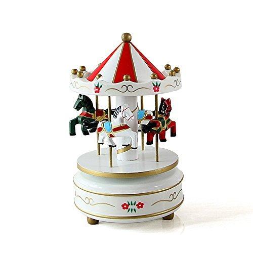 Etbotu Hölzernes 4 Pferd drehendes Karussell Figürchen Spieluhr Geburtstags Weihnachtskind Geschenk Spielzeug 1 #