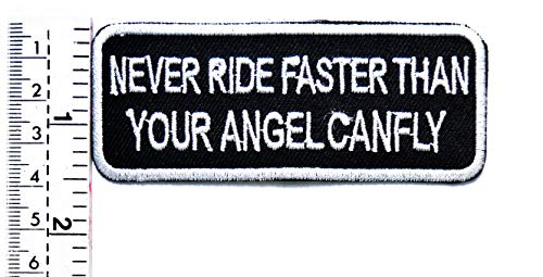 Funny Club (Tap Tap Funny MC Club Patches Aufnäher/Aufbügler/Aufbügler/Aufnäher, Aufschrift Never Ride Faster Than Your Angel CANFLY)