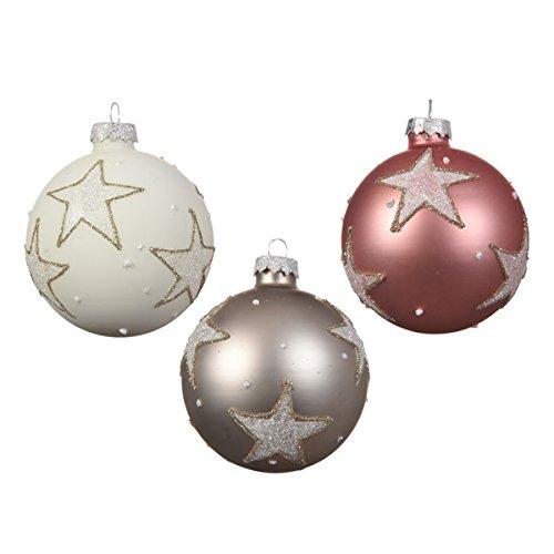 Christmas decorations 12 palline per albero di natale, 8 cm, in vetro, rosa antico/bianco / tortora/stelle, decorate a mano, 80 mm