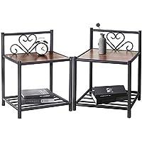 Aingoo Table de Chevet Ensemble de 2 Tables de Chevet, Table d'appoint rétro à 2 Niveaux, avec étagère de Rangement en métal et Plateau en Noyer pour Le Salon de la Chambre à Coucher en Noyer