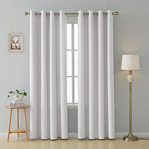 Deconovo tende camera da letto in tessuto oxford per interni decorative finestre con occhielli per casa moderne 140x290cm bianco 2 pannelli