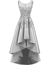 67cab54062 Encaje Elegante Espalda Largo Corto Mujeres Vestidos De Noche Vestidos De  Dama De Honor Cuello Redondo