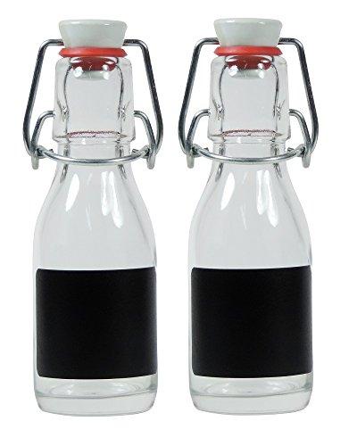 Viva Haushaltswaren - 2 x kleine Glasflasche 100 ml leer mit Bügelverschluss aus Porzellan zum Befüllen, als transparente Saftflasche und Ölflasche verwendbar (inkl. 2 Beschriftungsetiketten)