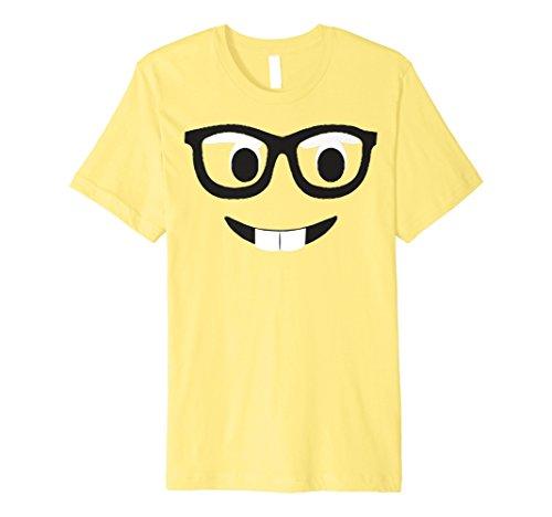 Emoji-Shirt Kostüm Buck Zähne Emoji-Nerd Brillen Gelb