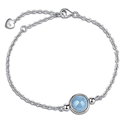 Haoda 925 Silber Armband für Damen mit Naturstein Aquamarin Kyanit - Charm, Ideales Geschenk für Mutter Frauen und Freundin, inkl. Geschenkverpackung - Aquamarin Seife