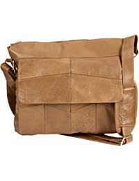 Men's Soft Leather Satchel / Shoulder Messenger Bag with Adjustable Shoulder Strap in Black/Tan