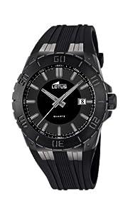 Reloj analógico Lotus 15807/1 de cuarzo para hombre con correa de caucho, color negro