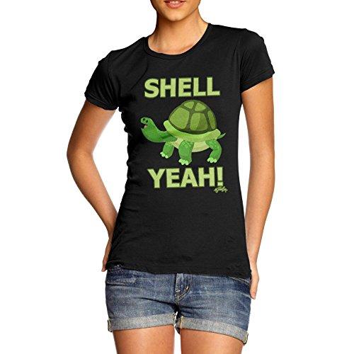 TWISTED ENVY Damen T-Shirt Shell Yeah Turtle Print X-Large Schwarz