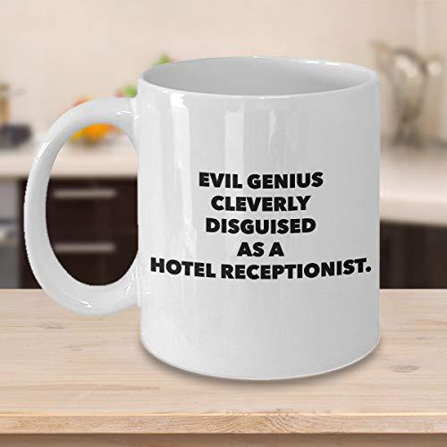 Funny Hotel Receptionist Taza de café personalizado regalos para los asistentes de oficina secretarios escritorio frontal RepsGenius hábilmente disfrazado